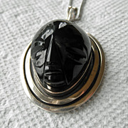 Sterling Designer Pendant With Carved Black Glass or Obsidian