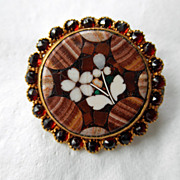Pretty Pietra Dura Brooch/Pin With Garnets
