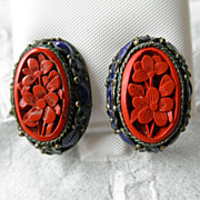 Vintage Chinese Gilded Silver Carved Cinnabar & Enamel Earrings