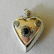 Mexican Sterling Large Perfume Pendant With Onyx