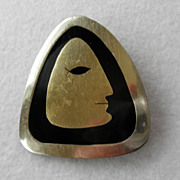 Interesting Sterling & Enamel Face Pin