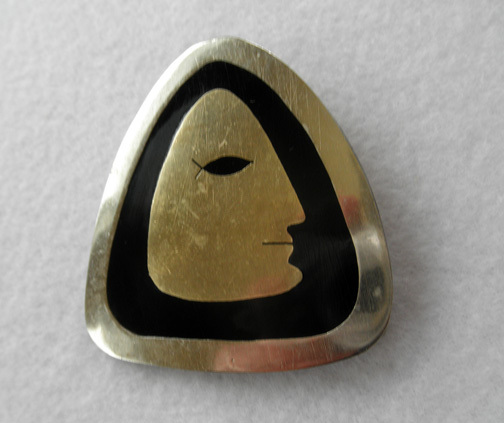 Interesting Sterling & Enamel Face Pin