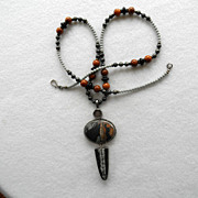 Fabulous Asian Agate Silver & Multi Stone Necklace