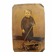 Adorable Tintype Boy & His Toy Wagon