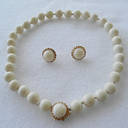 White Coral Demi-Parure 14K Choker & Earrings