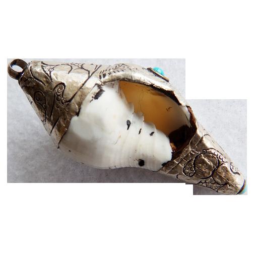 Tibet Sterling & Turquoise Shell Pendant