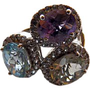 Huge 3 Gemstone Sterling Ring