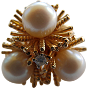 14 Karat Yellow Gold Cultured Pearl & Diamond Ring
