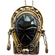 Early Mexican Silver Mask Pendant On Chain
