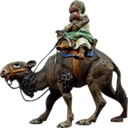 Cold Painted Vienna Bronze Arab Woman & Child On Camel