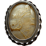 Victorian Carved Mother of Pearl Cameo Brooch In Silver Frame