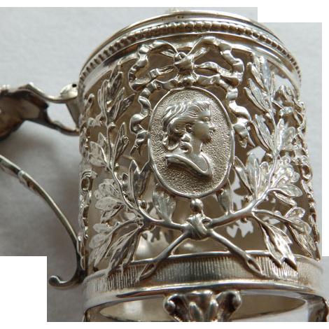 Antique Continental Silver Condiment Jar