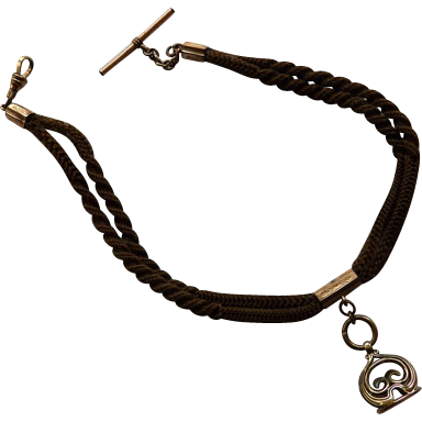 Victorian Double Strand Hair Watch Chain With Fob