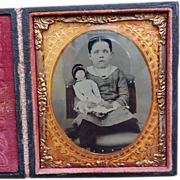 Cased 6Th Plate Tintype Girl With Large Doll