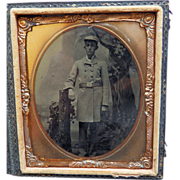 Cased 6Th Plate Tintype of Fireman In Dress Coat Uniform