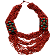 Tribal Coral Multi Strand Necklace With turquoise & Silver