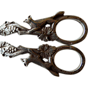 English Sterling Figural Grape Shears