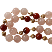 14K Rose Quartz & Carnelian Necklace