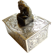 Sterling Stamp Box With Carved Foo Dog Finial - Circa 1900