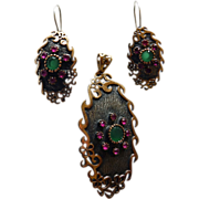 Modernest Sterling Demi-Parure Emeralds & Rubies
