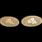 14K Victorian Earrings Etched Leaf Design