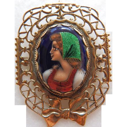 Vintage 14K French Enamel Brooch/Pendant