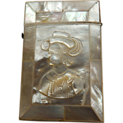 Victorian Mother of Pearl Card Case Carved Portrait