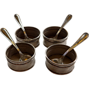 Four Sterling Open Salts With Spoons