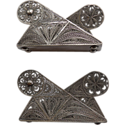 Pair Sterling Filigree Napkin Holders