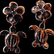 Sterling Vermeil Turtle Earrings