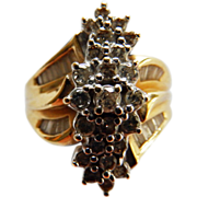 14K Yellow Gold Waterfall Ring With Diamonds