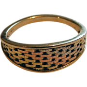 14K Tri Color Gold Woven Band Ring