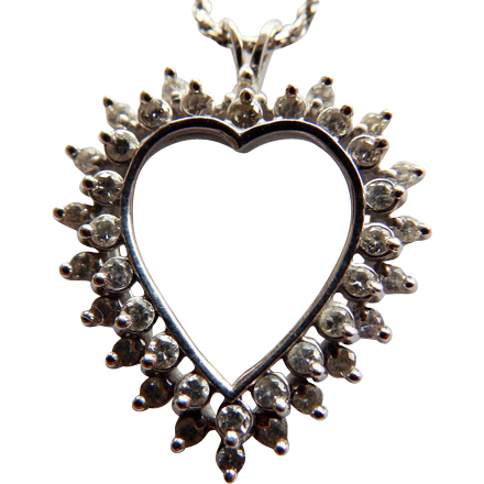 14K White Gold Open Heart Double Row Diamond Pendant On 14K Chain