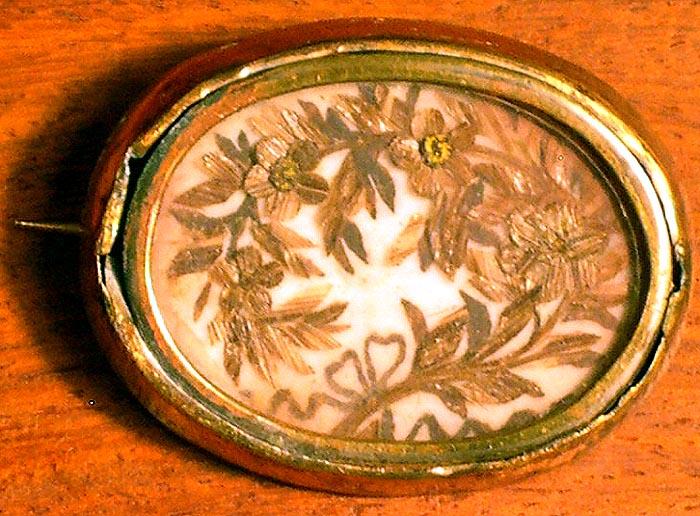 Victorian Mourning Brooch Hair Art Fl Motif Victoriental Ruby Lane