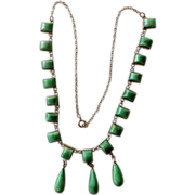 Early Mexican Sterling & Adventurine Teardrop Necklace