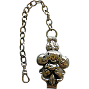 Victorian Silver Belt Watch Hook & Chain
