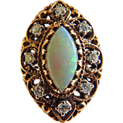 Victorian14K Opal & Diamond Ring