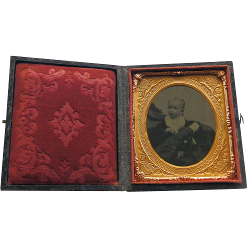 Girl With Doll Tintype Cased Sixth Plate