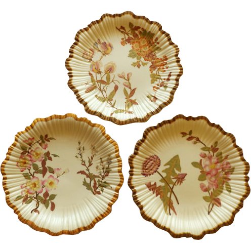 Set of Three Antique Royal Worcester Hand Painted Plates 1887