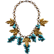 Vintage Brass & Turquoise Glass Grapes & Leaves Necklace