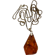 Large Amber Pendant On 8K Gold Chain