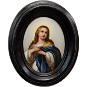 Hand Painted Porcelain Portrait Miniature of The Blessed Mother