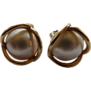 14K Yellow Gold & Cultured Mabe Pearl Earrings