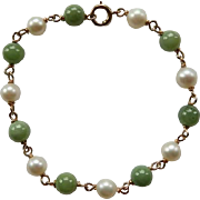 14K Yellow Gold Cultured Pearl & Serpentine Bracelet