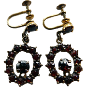 Bohemian Garnet and Sterling with Gold Wash Screw Back Earrings