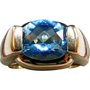 14 Karat Yellow Gold Faceted Blue Topaz Ring