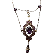 Edwardian Sterling Silver Festoon Necklace With Enamel Amethyst & Cultured freshwater (River)  Pearl