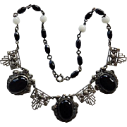 Art Deco Czech Onyx Silver Tone Necklace