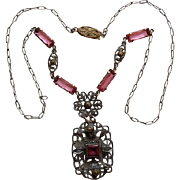Czech Art Deco Pink Glass & Marcasite Necklace