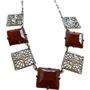 Art Deco Czech Necklace With Carnelian
